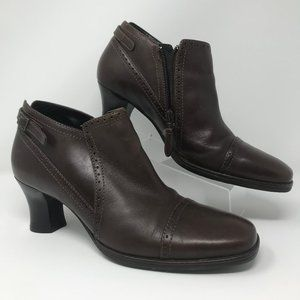 """Clarks Brown Leather Zip Ankle Boot 2.5"""" 69552 7.5"""